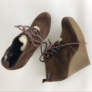 Diesel Wedge Booties Lace Up Boots size 9